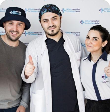 Balwi mit Patient und Dolmetscherin