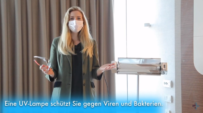 The UV lamp kills bacteria and viruses