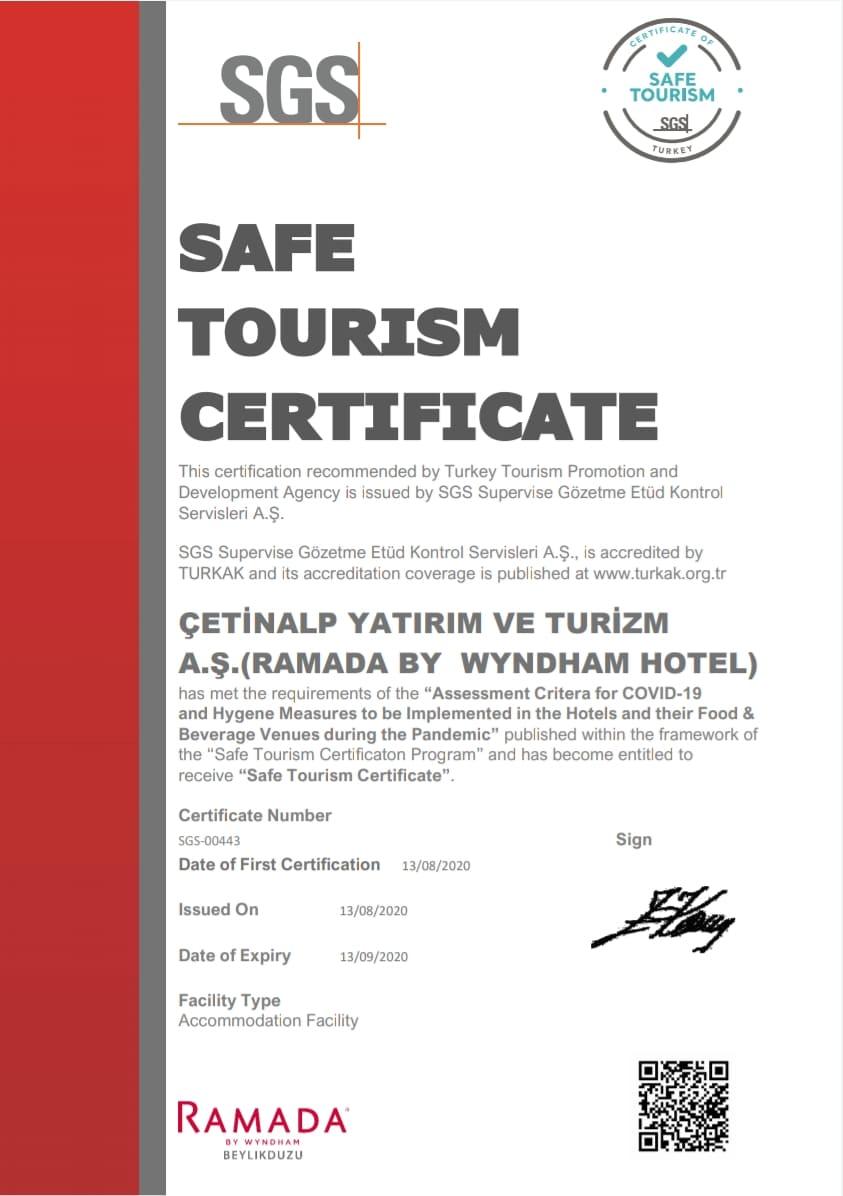 Zertifikat für das Ramada Hotel.