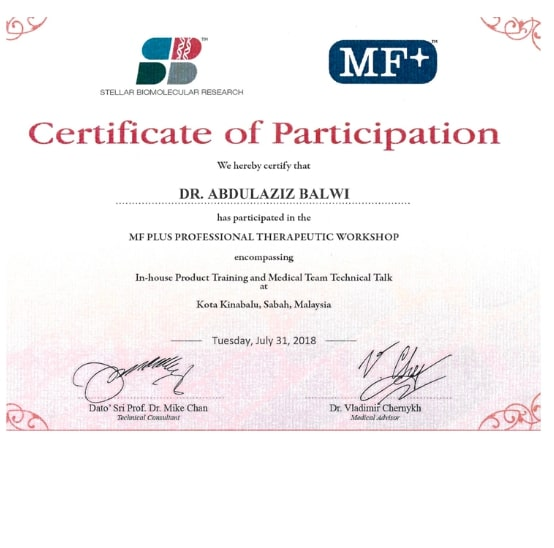 Certificado de asistencia al taller en Product Training & Medical Team de Stellar Biomolecular Research.