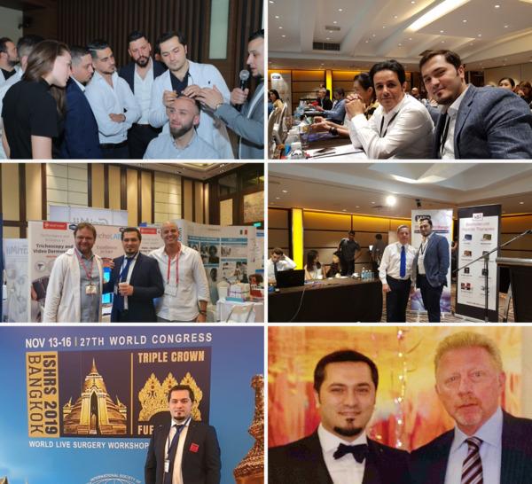 Sélection de photos montrant le Dr Balwi durant des congrès et événements
