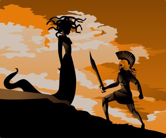 Dans la mythologie grecque, les Gorgones ont des serpents pour cheveux