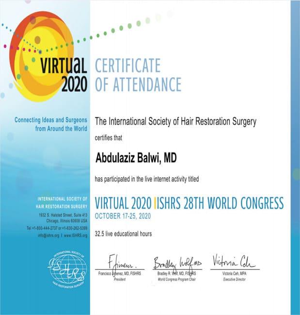 Certificat Elithair pour la participation au 28e Congrès mondial de l'ISHRS
