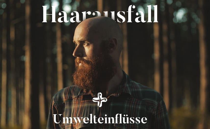 Haarausfall und Umwelteinflüsse - Glatzer Mann mit Bart