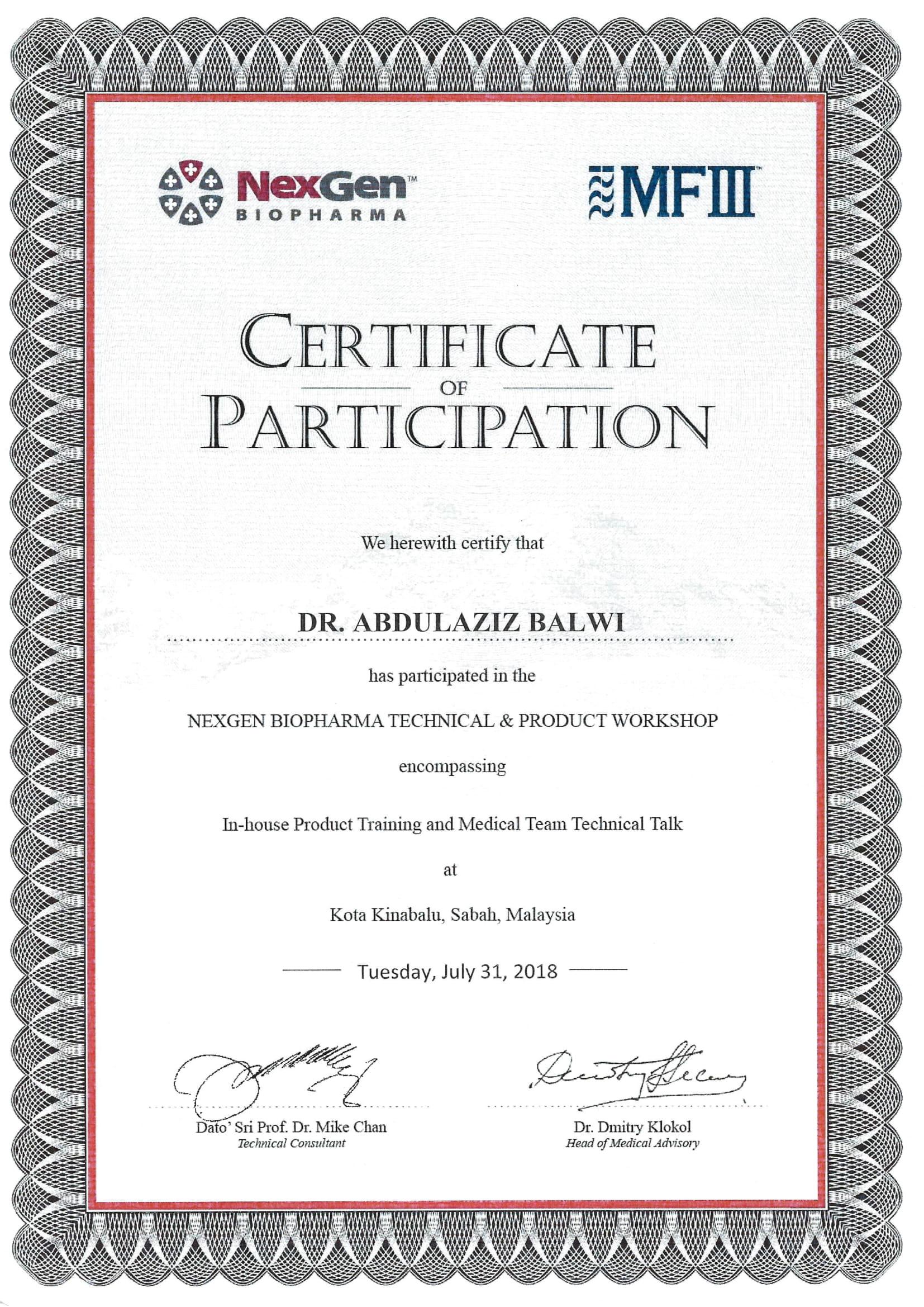 Dr. Balwi Zertifikat
