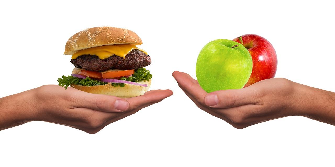 Ursachen von Haarausfall - Apfel und Burger in der Hand