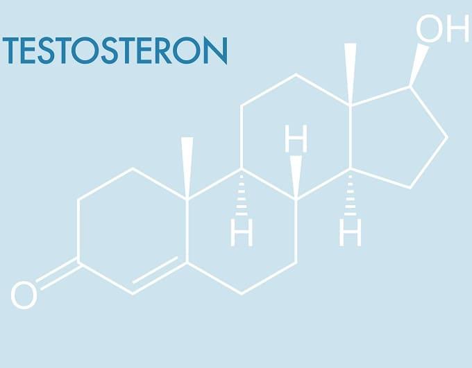 Die chemische Formel für Testosteron auf blauem Hintergrund