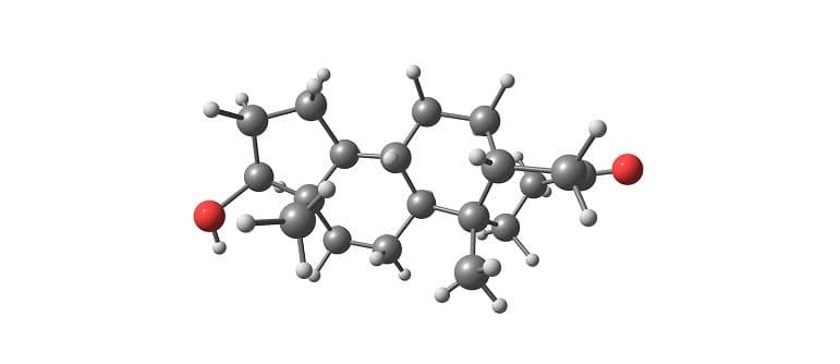 3D Illustration der chemischen Verbindung von Dihydrotestosteron
