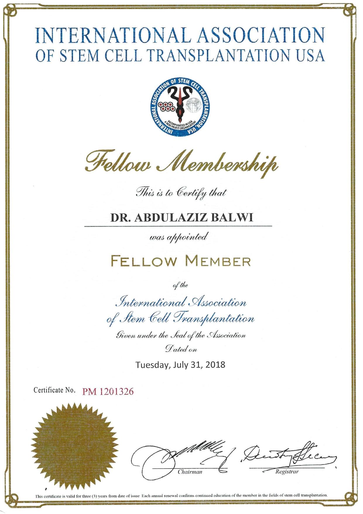 Certificado Elithair como membro da Associação Internacional de Transplante de Células-Tronco nos Estados Unidos
