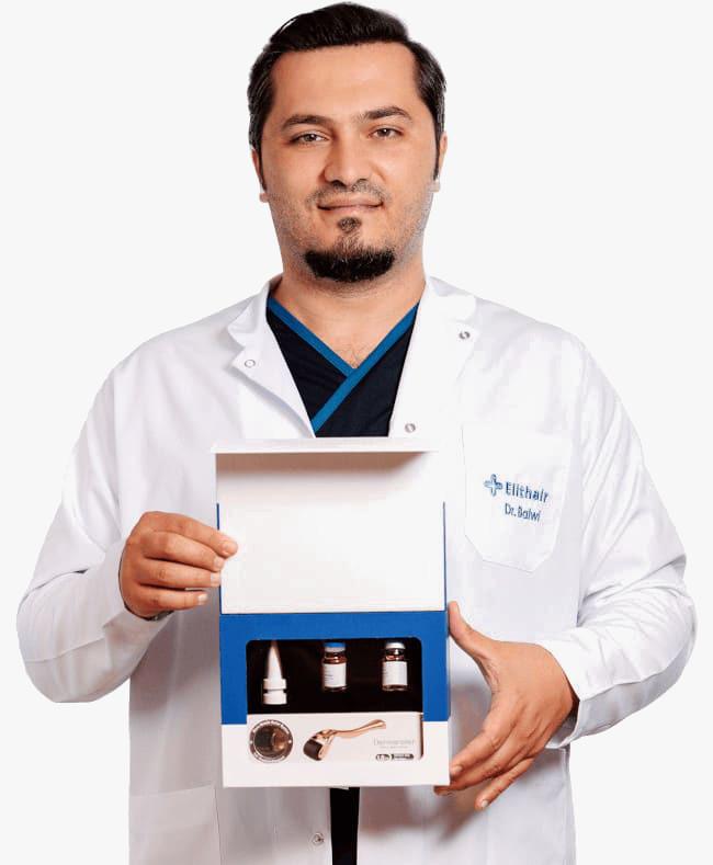Dr. Balwi apresentando um kit NEO FUE