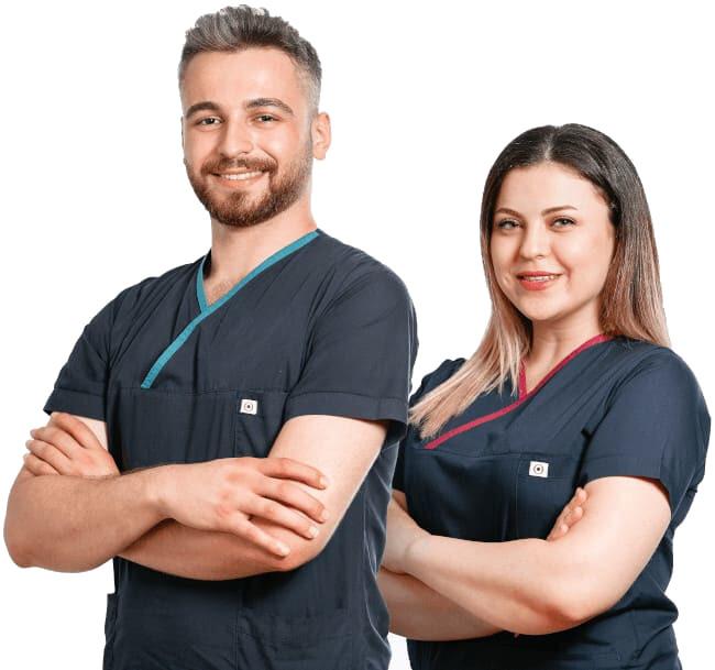 Membros da equipa Elithair na clínica de transplante capilar