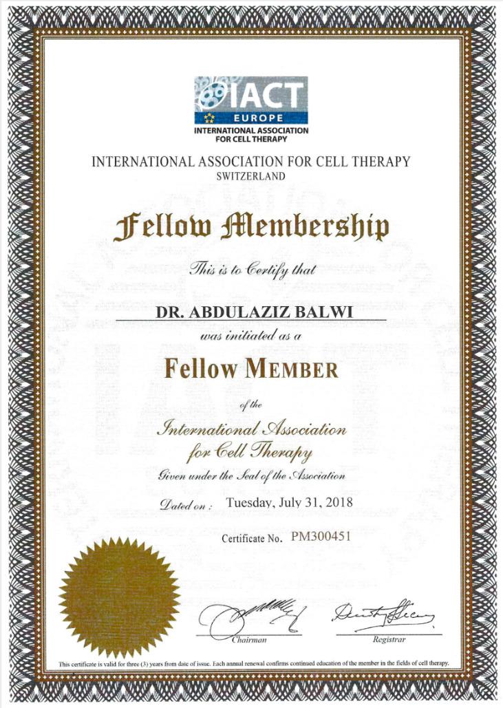 Certificado de adesão da Elithair como membro da IA/CT Sulza