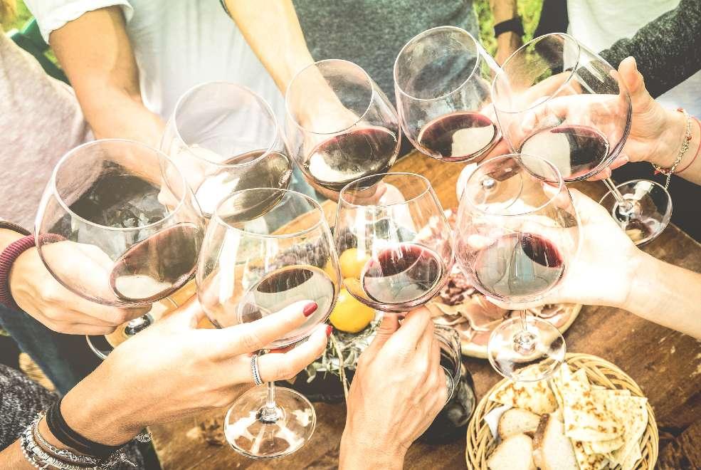 Amigos brindando con vino
