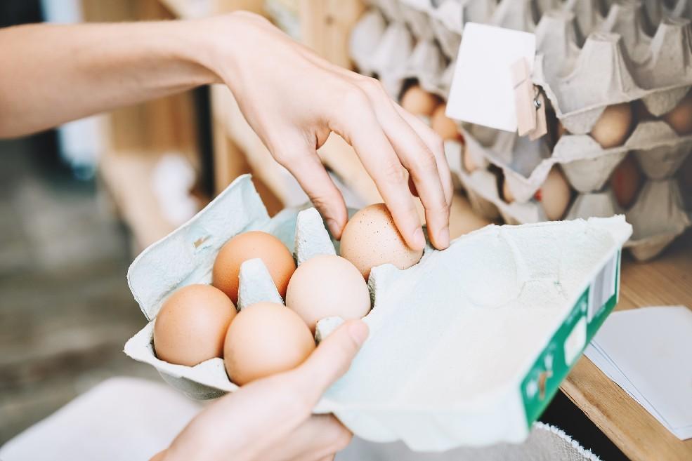 Cartón de huevos frescos