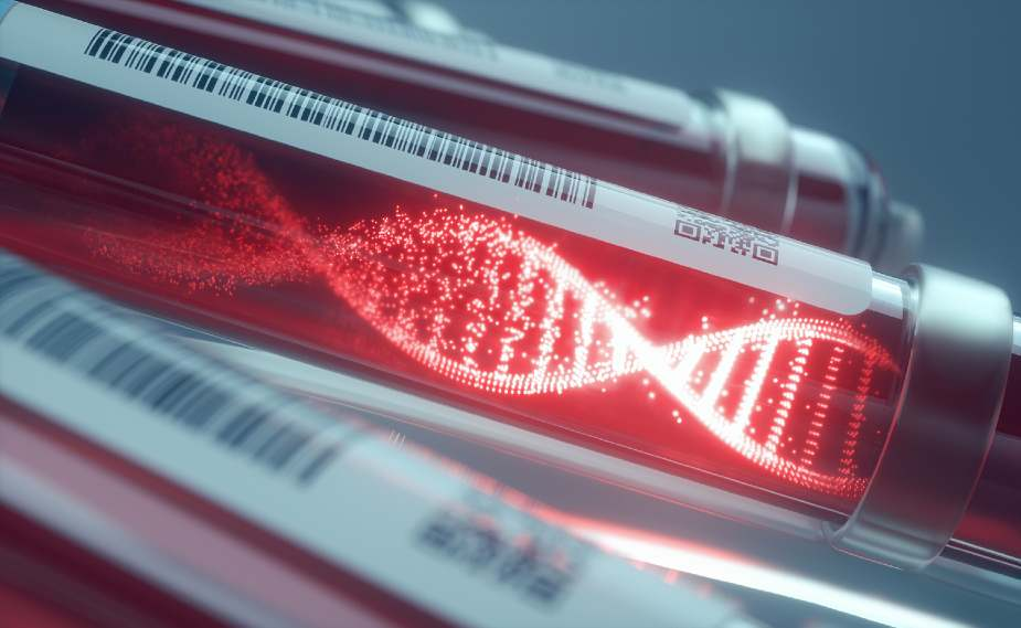 Viales de sangre con cadena de ADN luminosa
