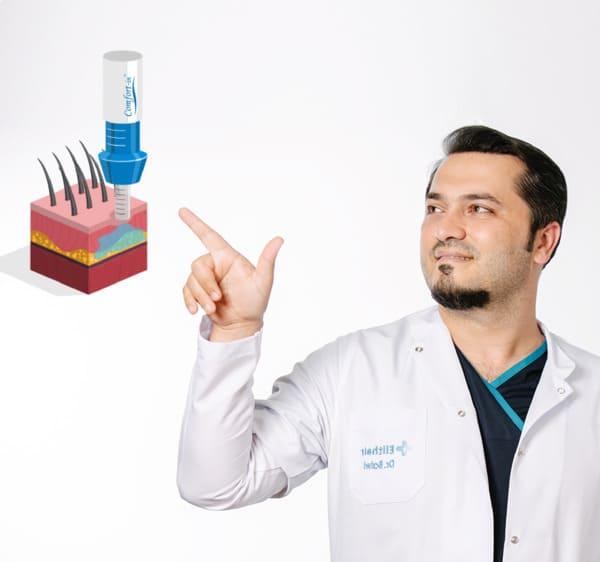 """Retrato del Dr. Balwi señalando un corte transversal del método de anestesia """"Comfort-In"""""""