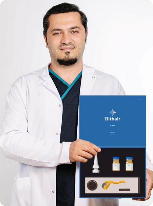 El Dr. Balwi muestra el set de preparación para un injerto capilar NEO FUE desarrollado y en exclusiva en Elithair