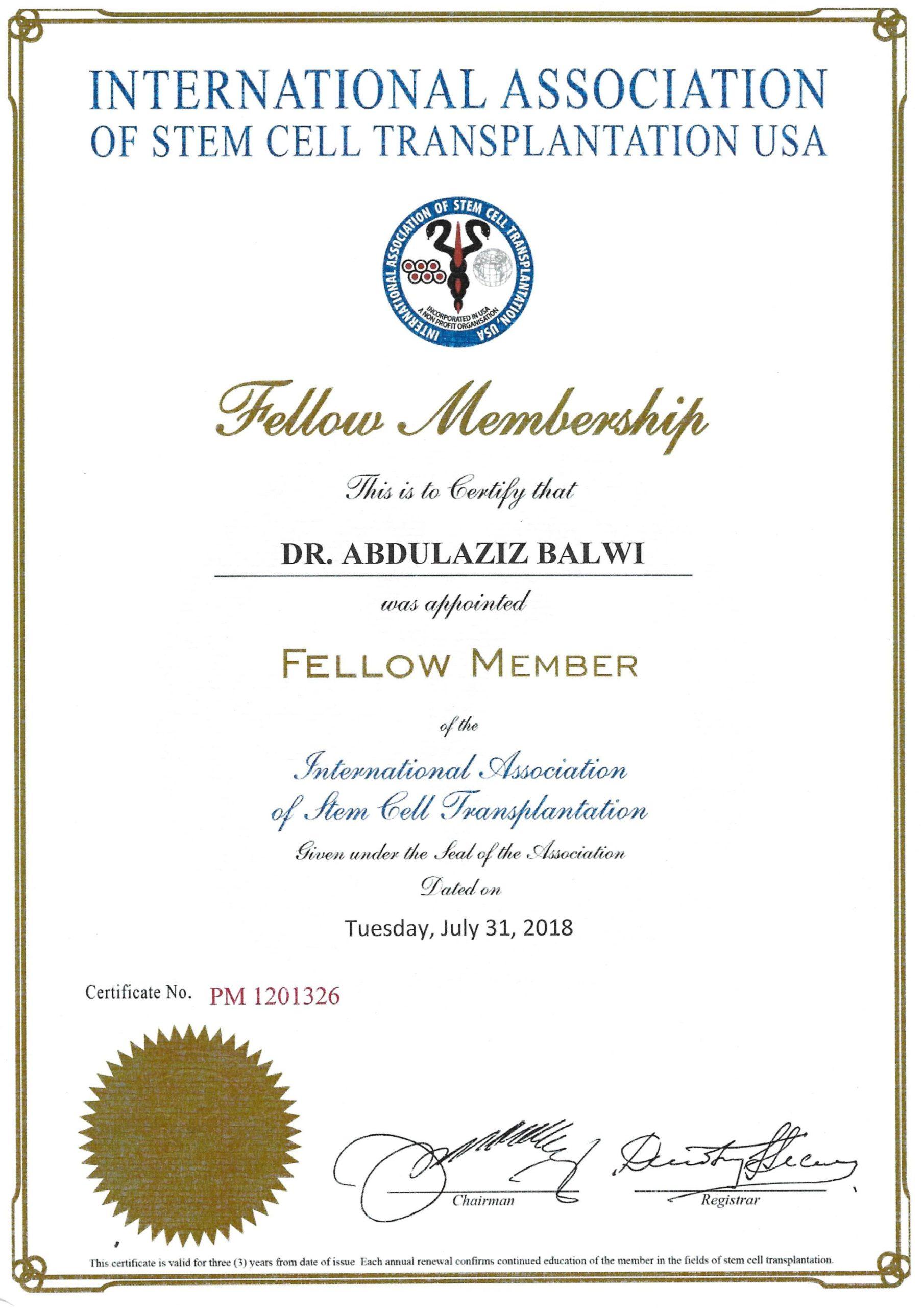 Certificat Elithair de l'Association des cellules souches