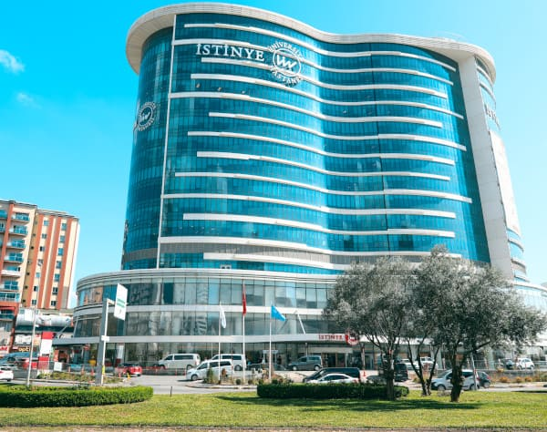 An outside view of the Istinye University Hospital in Turkey
